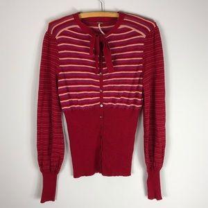 Free People Red Striped Retro Cardigan Sweater 440